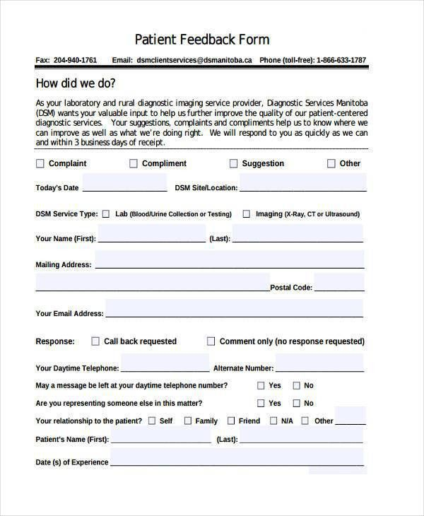 7+ Patient Feedback Form Samples - Free Sample, Example Format ...