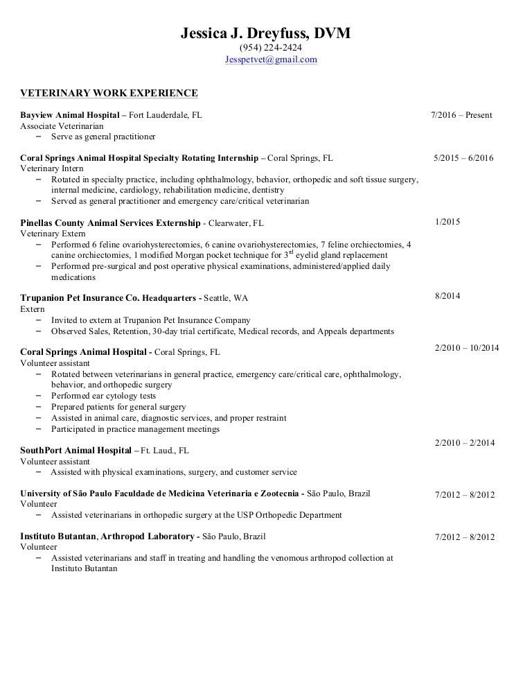100+ [ Vet Assistant Resume ] | Veterinary Technician Resumes ...