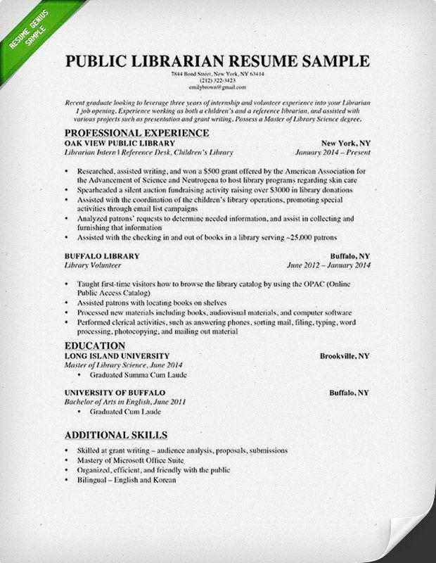 Librarian Resume Sample & Writing Guide | RG
