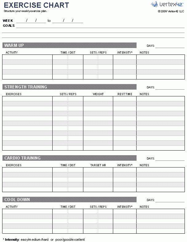 Free Exercise Chart or MS Excel -Use this template to create your ...