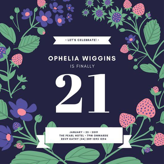 Blue Floral Wreath 21st Birthday Invitation - Templates by Canva