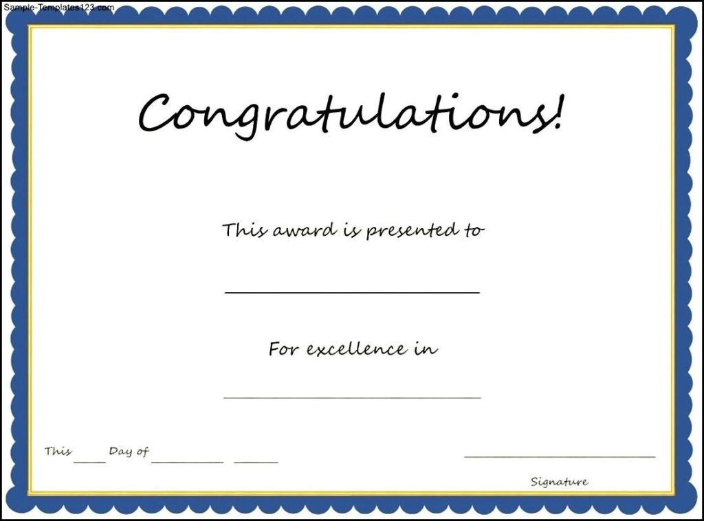 Sample Congratulations Certificates. Free Student Award ...