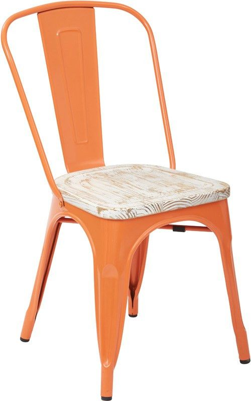 Designs Bristow Metal Chair with Vintage Wood Seat - Set of 4 ...
