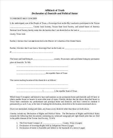 Sample Affidavit Forms in PDF - 23+ Free Documents in PDF