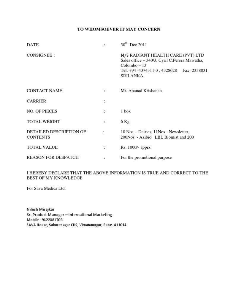 Letter Format » Declaration Letter Format - Cover Letter and ...