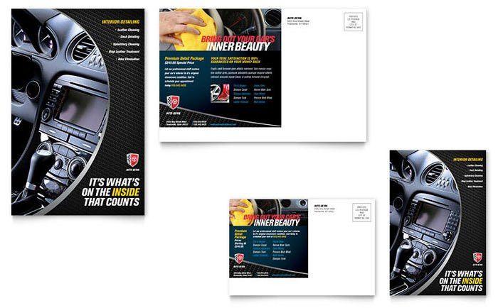 Auto Detailing Postcard Template Design