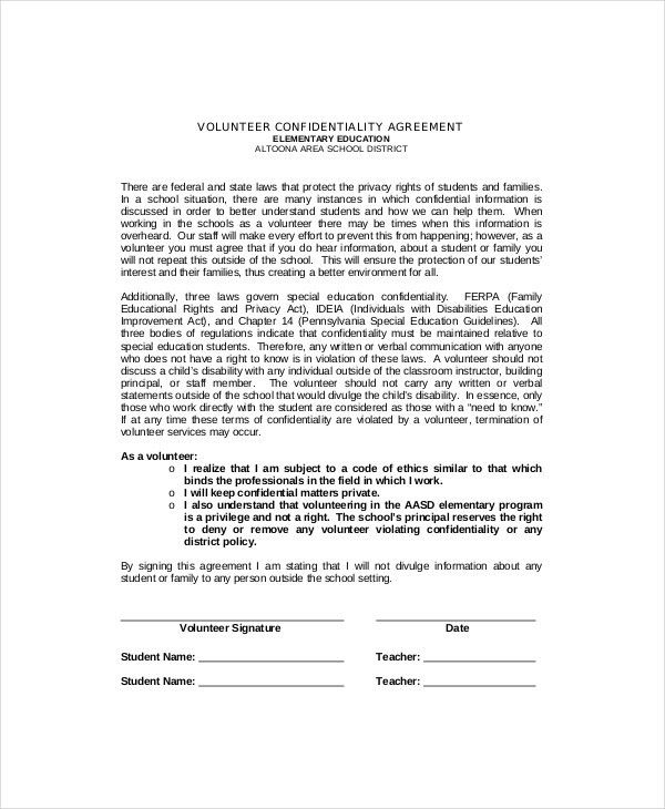 Volunteer Confidentiality Agreements. Confidentiality Agreement ...