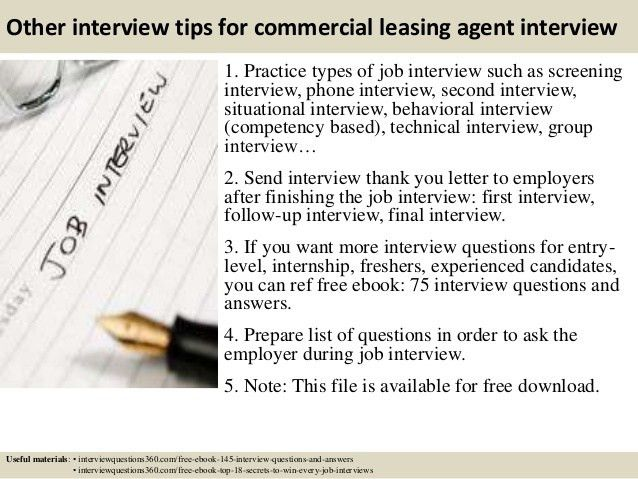 Top 10 commercial leasing agent interview questions and answers