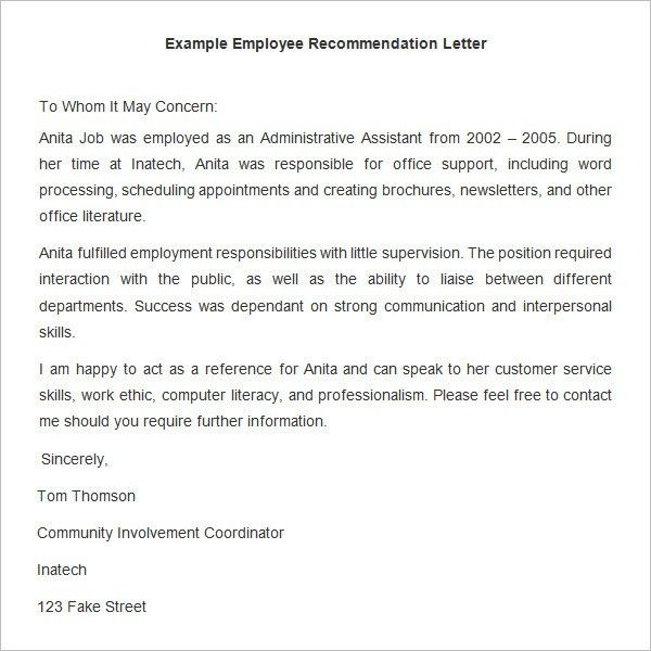 Sample Recommendation Letter From Former Employer - Shishita-world.com