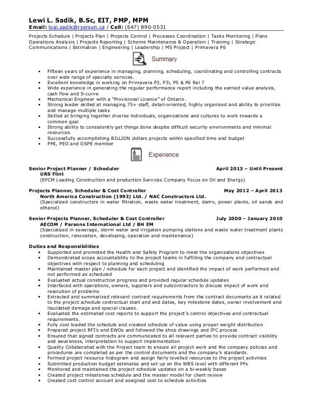 Resume - Senior Projects Planner / Schedule