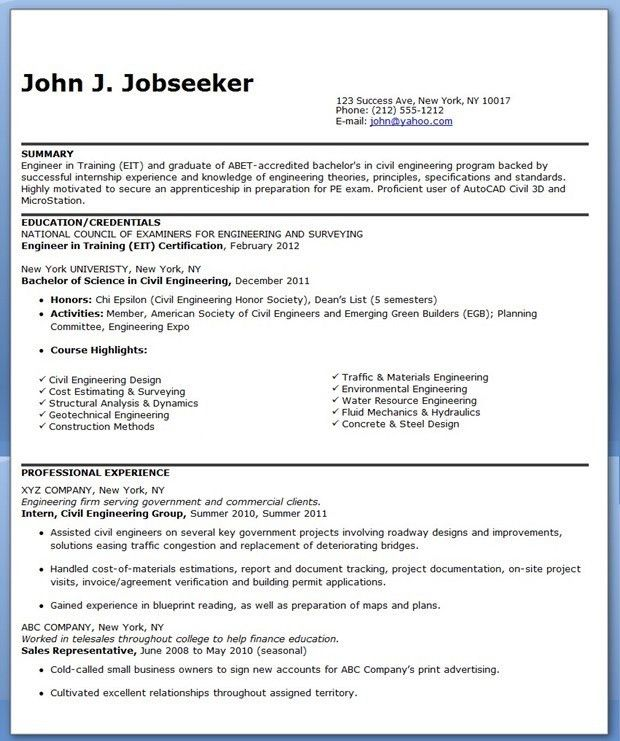 Civil Engineer Resume Sample (Entry-Level) | Creative Resume ...