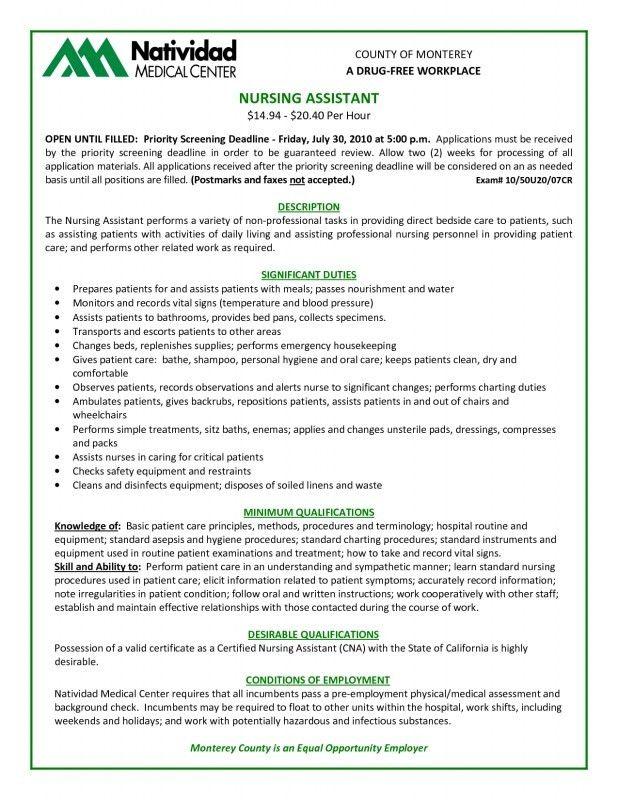Certified Nursing Assistant Duties Resume | Samples Of Resumes