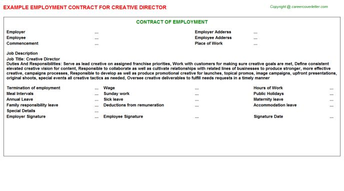 Creative Director Employment Contract