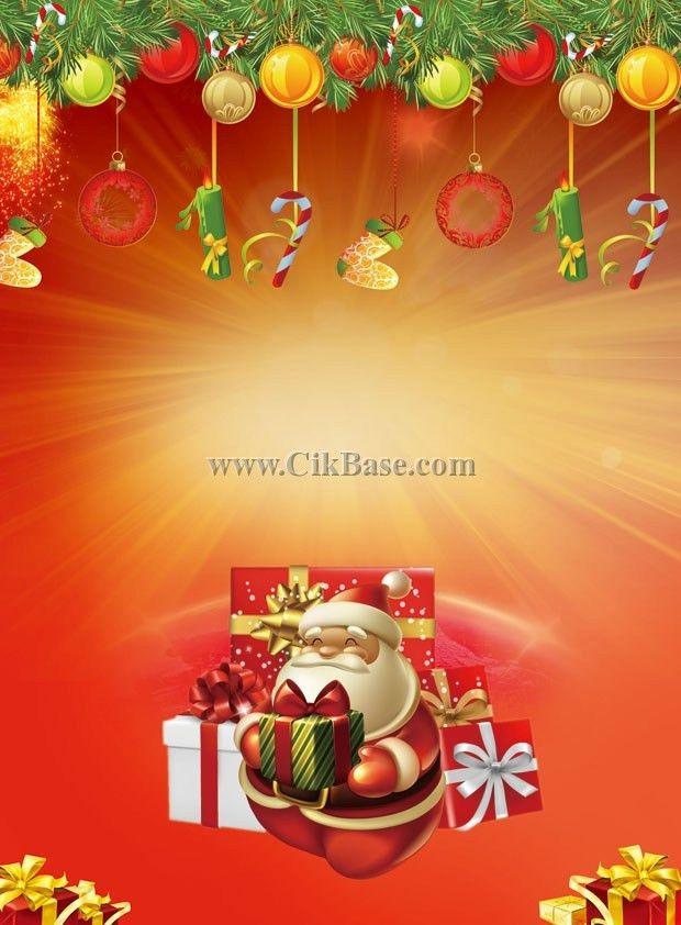 Cartoon Santa Claus Christmas poster background design set PSD ...