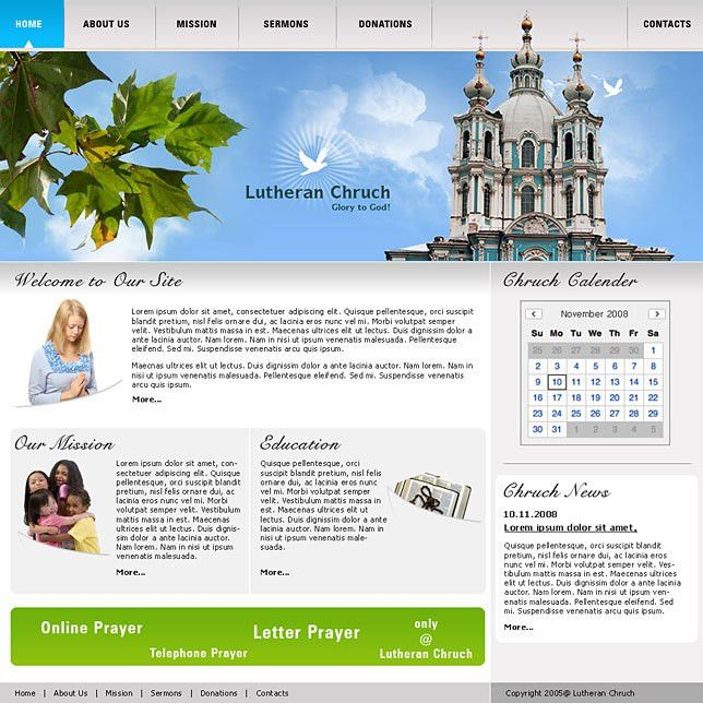 Website design templates css for church websites