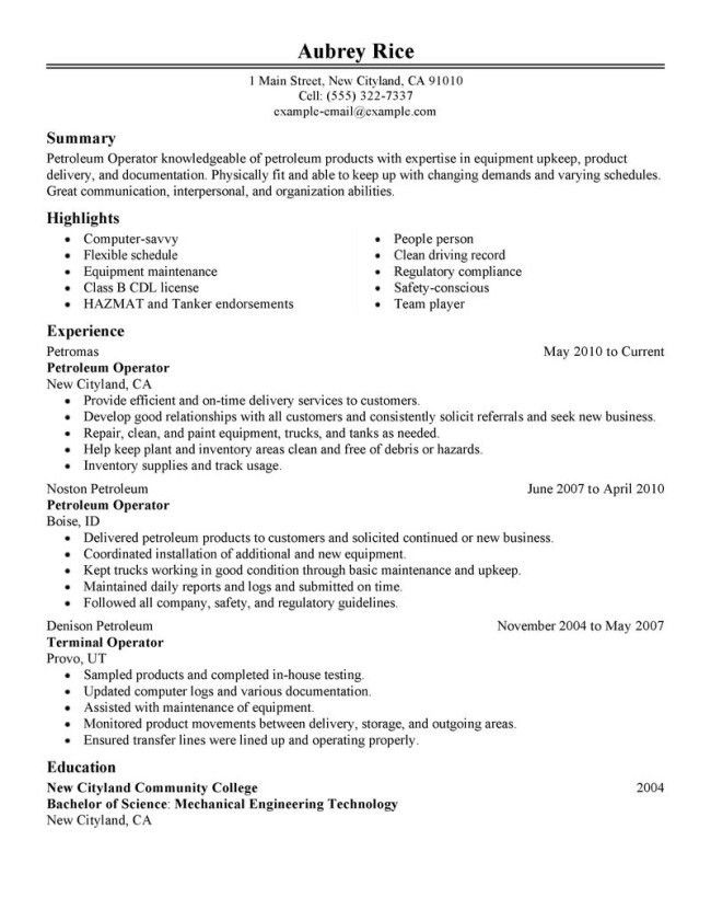 Petroleum Refining Operator Resume Sample : Vinodomia