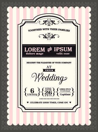 Retro wedding invitations cards design vector 02 - Vector Card ...