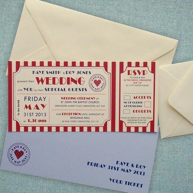 Just the Ticket wedding invitation sample - Folksy