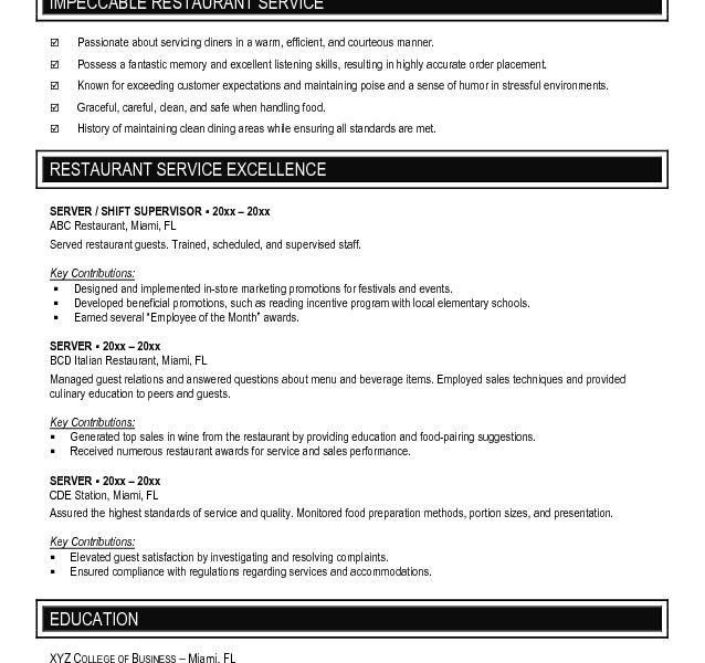 Resume Examples For Servers - cv01.billybullock.us