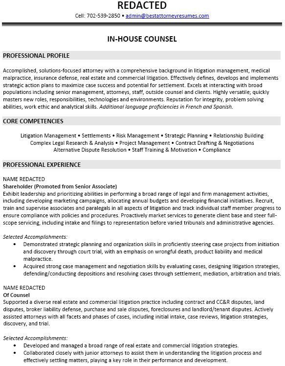 Professionally Written In House Counsel Attorney Resume Example ...