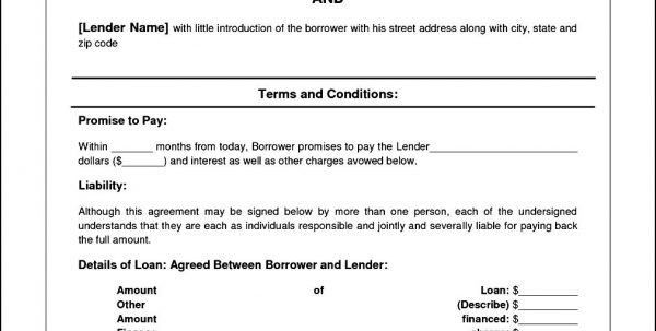 Personal Loan Agreement Template Free Loan Agreement Template Pdf ...
