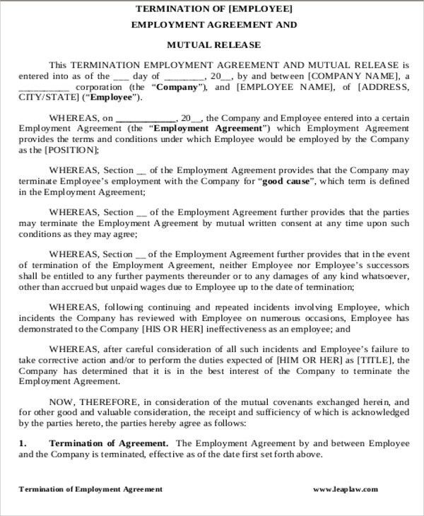 Sample Contract Termination Agreement - 8+ Examples in Word, PDF