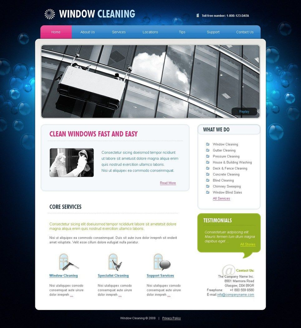 Window Cleaning Website Template #25901