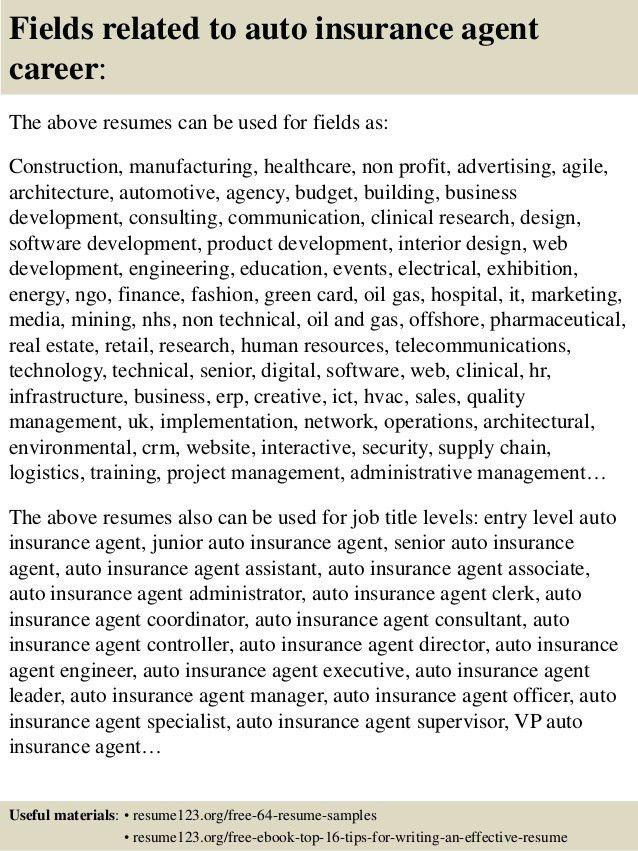 insurance agent resume example. insurance representative resume ...