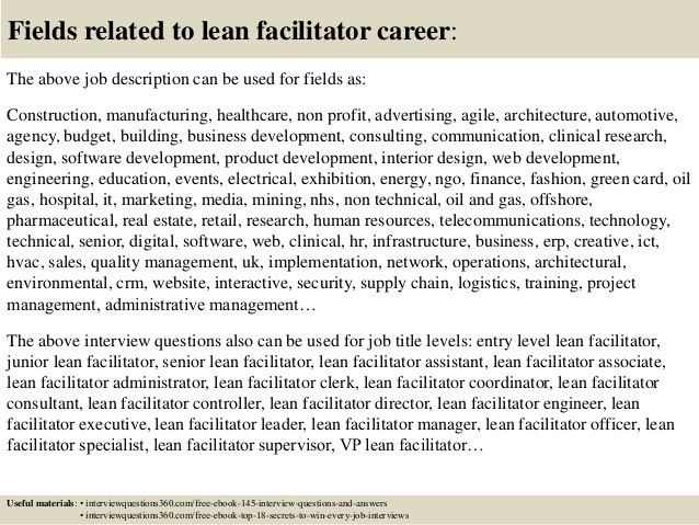 Top 10 lean facilitator interview questions and answers
