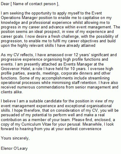 Event Manager Cover Letter Sample