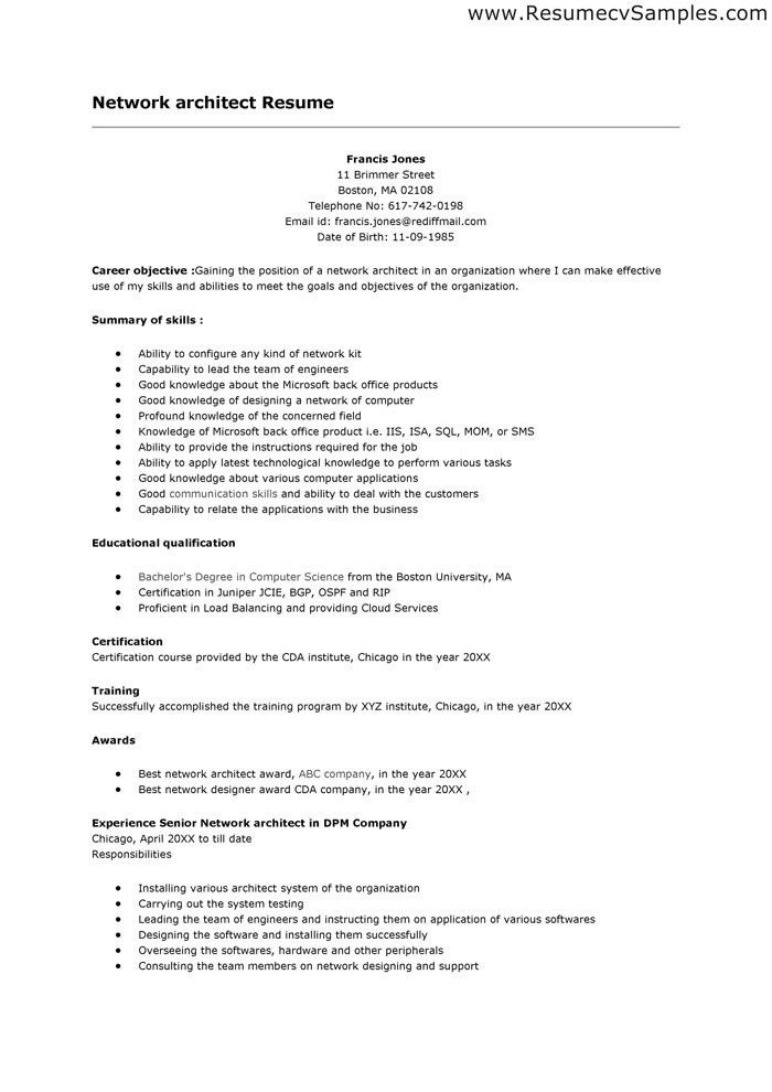 Simple Network Architect Resume Template and Ability To Configure ...
