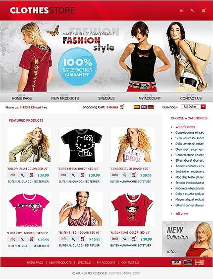 osCommerce Template Fashion Clothes Store #481, osCommerce v2.2 ...