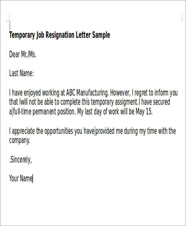 Sample Temporary Resignation Letter   5+ Examples In PDF
