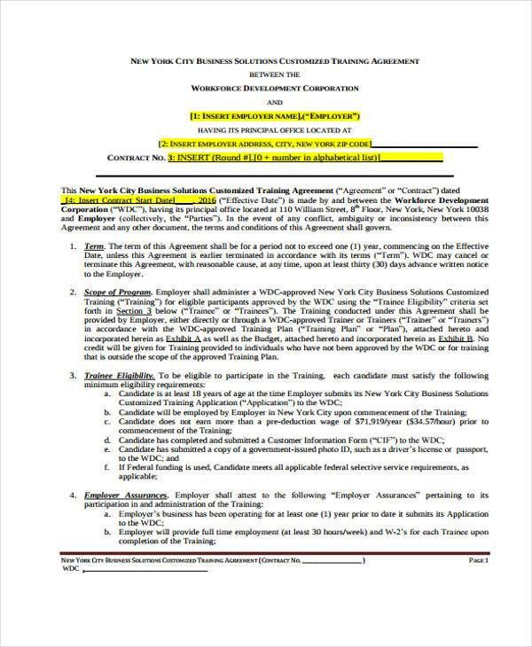 Training Contract Templates - 9+ Free Word, PDF Format Download ...