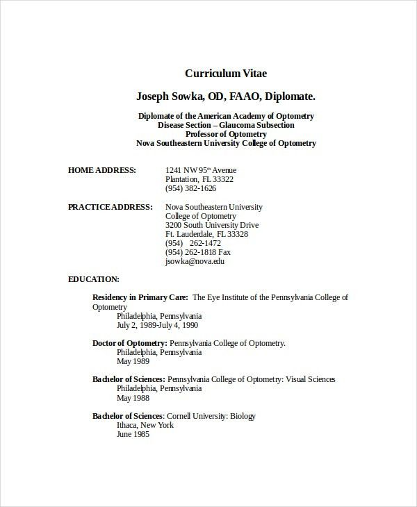 Optometrist Resume Template - 7+ Free Word, PDF Documents Download ...