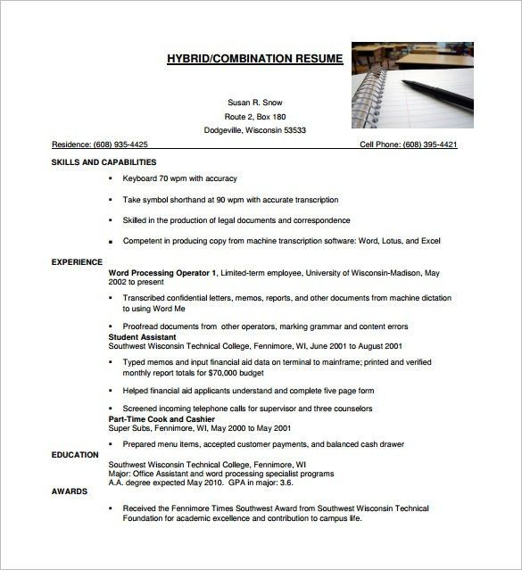 Combination Resume Template – 10+ Free Word, Excel, PDF Format ...