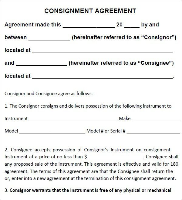 Top 5 Free Consignment Agreement Templates - Word Templates, Excel ...