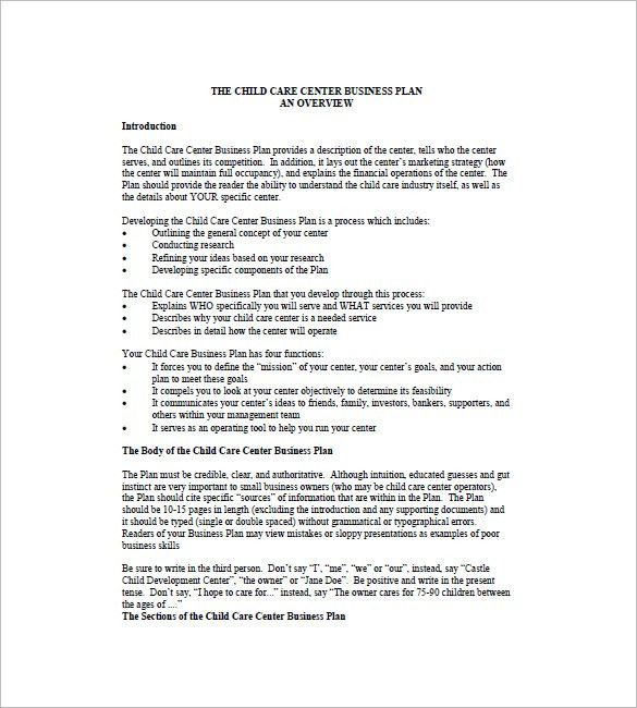 Daycare Business Plan Template 9+ Free Word, Excel, PDF Format ...