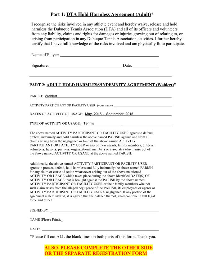 Hold Harmless Agreement in Word and Pdf formats