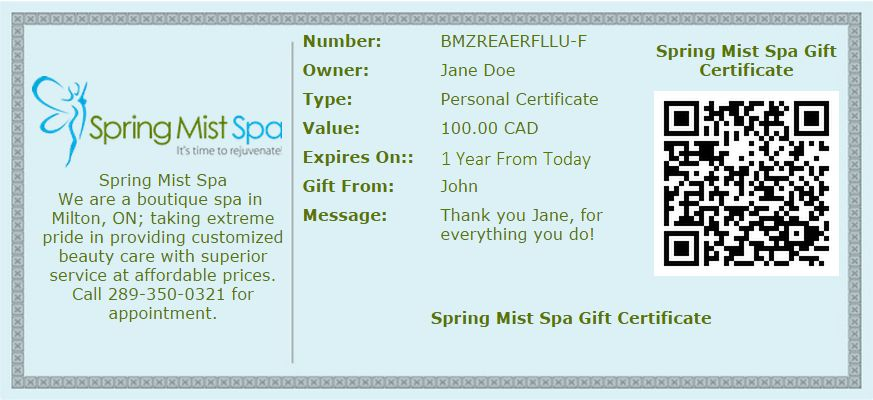 Gift Cards Online Milton Spa   Spring Mist Spa Milton