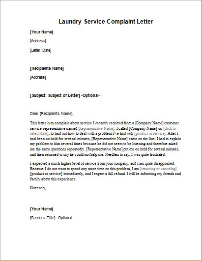 Laundry Service Complaint Letter | Word & Excel Templates