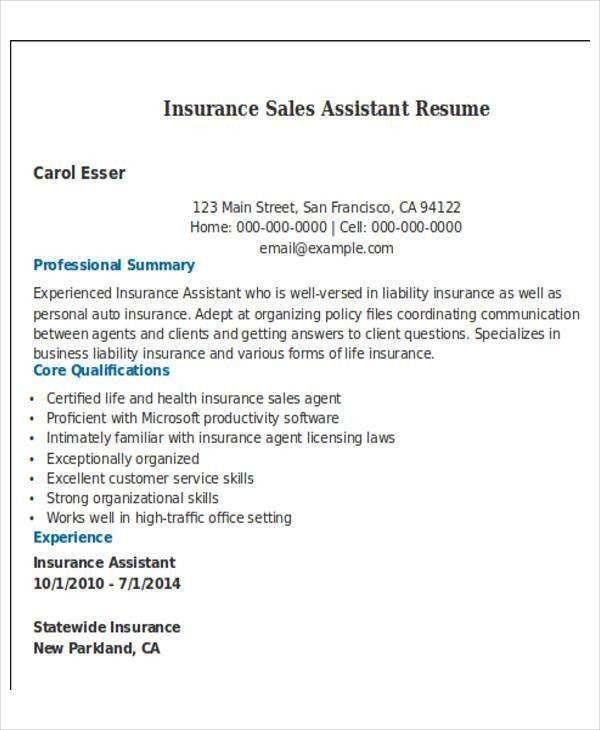 sample insurance assistant resume 16 free sample insurance