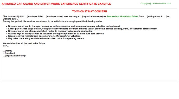 Rmo Work Experience Letters