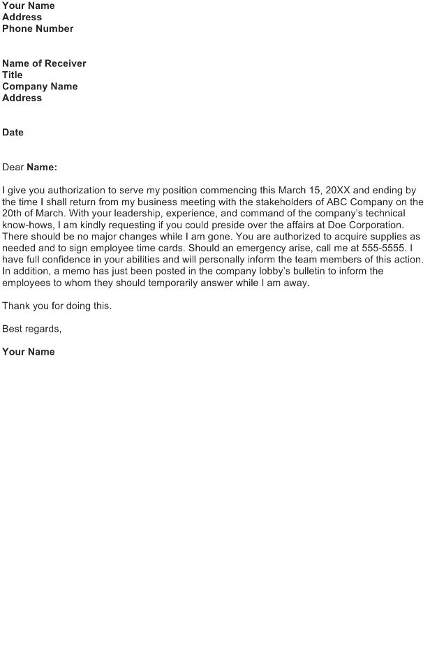Authorization Letter Sample - Download FREE Business Letter ...