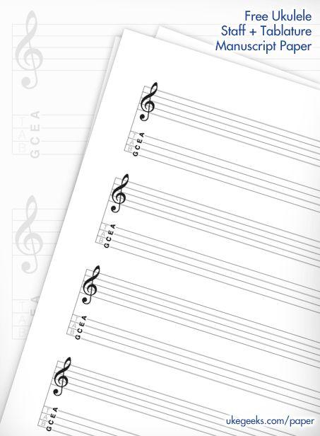 Free Blank Ukulele Staff & Tablature Music Manuscript Paper | UkeGeeks