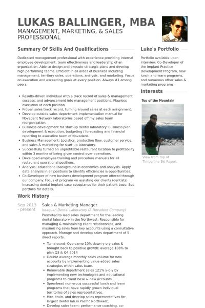 Sales & Marketing Manager Resume samples - VisualCV resume samples ...