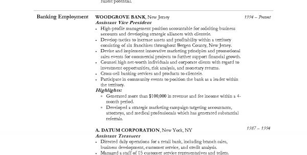 Investment Banker Resume Sample Personal Banker Resume Sample ...
