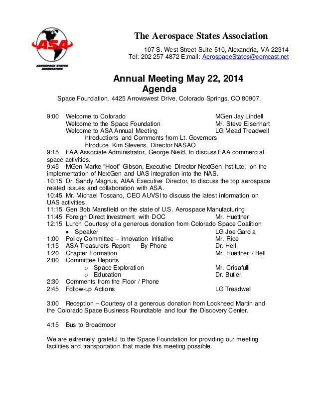 2014 annual meeting agenda draft