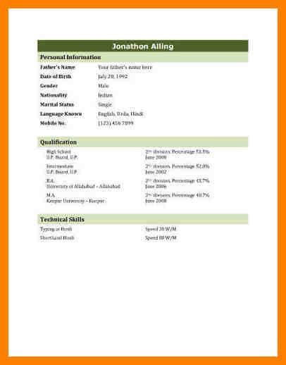 9+ biodata resume format | addressing letter