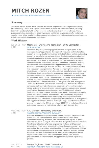 Mechanical Engineer Resume samples - VisualCV resume samples database